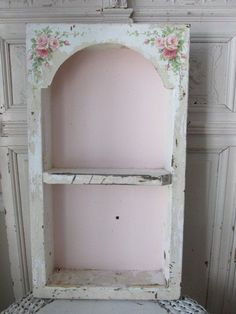 2,025.00 OMG ORIGINAL Christie REPASY PAINTING PINK ROSES on Old Metal WALL SHELF Arch