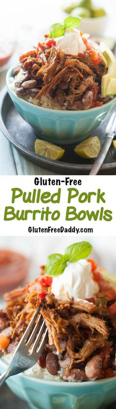 Chili Spiced Gluten-Free Pulled Pork Burrito Bowls Crock Pot Recipe - make your own Chipotle at home. I love how versatile this recipe is and how you can use the same basic recipe to make burrito bowls, burritos and Chipotle-style salads.