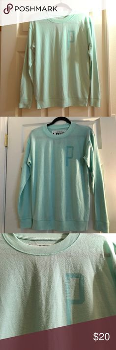 Victoria's Secret Pink Mint Pull Over Sweater ❤️Price is 20% lower  Add favorite item(s) to a bundle for a private discount‼️  Excellent condition cozy Victoria's Secret Pink Mint Pull over sweatshirt  I'm sorry, no trades!  Feel free to make me an offer! ❤️ PINK Victoria's Secret Tops Sweatshirts & Hoodies
