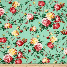 """Designed by Verna Mosquera for Free Spirit, this """"Fruta y Flor"""" cotton print is perfect for quilting, apparel and home decor accents. This collection is inspired by vintage botanical fruit prints and retro vibes. Colors include green, pink, red, white and yellow."""