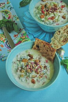 آبدوغ خیار Abdoogh khiar is a chilled yogurt soup with lots of aromatic fresh herbs, diced cucumbers, chopped radishes, crushed wal...