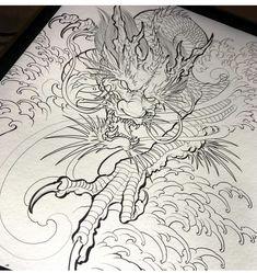 Dragon drawing done. Dragon Tattoo Colour, Dragon Tattoo Drawing, Dragon Sleeve Tattoos, Japanese Dragon Tattoos, Dragon Tattoo Designs, Japanese Tattoo Women, Japanese Tattoo Art, Japanese Tattoo Designs, Japanese Art