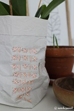 diy embroidered paper bags