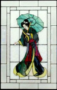 Image Detail for - Geisha With Parasol - Delphi Stained Glass