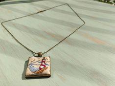 Lighthouse cross stitch pendant on bronze frame, charm necklace, cross stitch jewelry, vintage style, gift for her Necklace Lengths, Lighthouse, Gifts For Her, Custom Design, Cross Stitch, Vintage Fashion, Take That, Bronze, Pendants