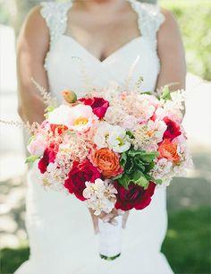 bright wedding bouquet designed by @flowerhouse