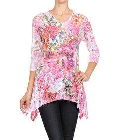 Love this Pink 'Aloha' Sidetail Top for my mother in law  #zulily! #zulilyfinds