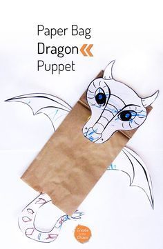 Easy craft for kids with free printable template - DIY dragon paper bag puppet www.createinthechaos.com
