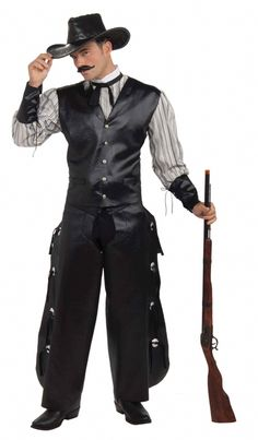 Rogue Gambler Cowboy Halloween Costume - Rule the saloon with this great Rouge Gambler Old West costume. This cowboy costume will show you mean business. This is a six-piece costume with vest with attached shirt, chaps, collar with attached tie and suede string. Wear this cool Rouge Gambler Cowboy costume for Halloween, a Western-themed costume party or a rodeo or stampede. It would also be fun for a themed poker night! #yyc #calgary #costume #cowboy #western #steampunk #gunslinger