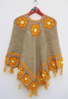 Poncho soles de la Puna - Crochet - Tejidos de Punto - 15324