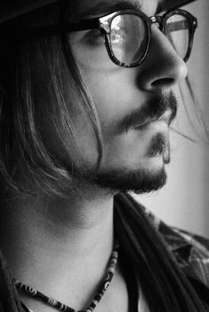 Johnny Depp, male actor, glasses, beard, long hairstyle, sexy, hot, portrait, celeb, famous, photo b/w.