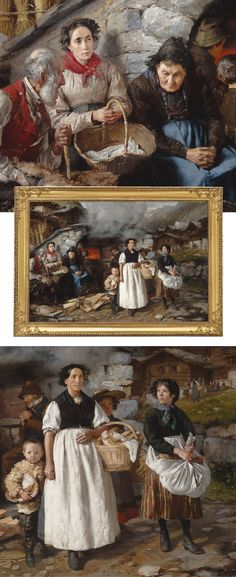 Gifts for the Art Lover! This monumental oil on canvas is a recently rediscovered work by the great Eugéne Burnand. The scene displays exceptional detail as it captures a village oven in the Alps. A masterwork of Swiss Realism, it was exhibited at the Exposition Universelle of 1878. Popular in his day, today Eugéne Burnand is ranked among the 19th-century Swiss masters ~ M.S. Rau Antiques