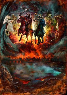 The 4 Horsemen of the Apocalypse - Conquest, War, Pestilence and Death...famine, drought, mass starvation, fire and the beasts of the earth. This was part of the series of illustrations for Judas P...