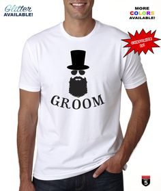 Custom Bride Groom original design cotton t-shirt cotton perfect gift personalized t-shirt apparel groom bow tie tee Beard guy ! by on Etsy Personalized T Shirts, Bearded Men, Bride Groom, Guy, The Originals, Clothing, Cotton, Mens Tops, Design