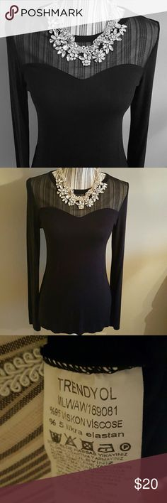 Black Illusion Top Worn once, like new.  Sheer panel across shoulders/upper chest area.  Stretchy material. Milla by Trendyol Tops Blouses