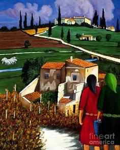 Две женщины и деревни Овцы Картина