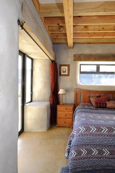 Wooden beams and wide window sills.