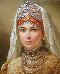Painting Andrey A. Shishkin. Russian kokoshnik or folk headdresses and a few from neighboring countries esp those that were part of the USSR. In all their myriad forms, costume, Court Tiaras, folk dress ,fancy dress, films, haute couture, toys, and artifacts, everything!