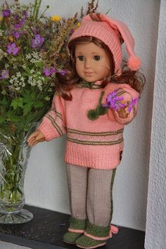 free knit 18 doll patterns | Gorgeous knitting patterns for 18 inch dolls ... in summery peach and ...