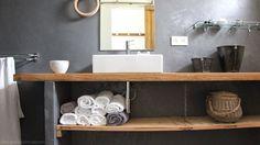 plan de travail salle de bains bois