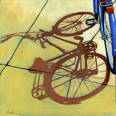 """Linda Apple, """"End of the Day,"""" The Blues - bicycle series painting, oil on gallery wrapped canvas 10""""x 10""""."""