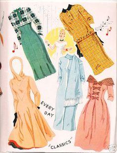 1957 Doris Day paper doll clothes / eBay