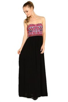 Break Free Embroidered Strapless Maxi Dress - Black