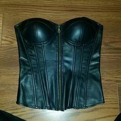 Corset Fake leather black corset Tops