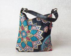 upcycled handbag, small handbag, upcycled bag, canvas handbag, small canvas bag, mandala bag, evening bag, womens handbags