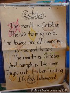 "Halloween Language Arts Ideas: October Poem: Tune of ""On to of Old Smokey"" Fall Preschool, Preschool Songs, Kids Songs, Preschool Ideas, Kindergarten Poems, Kindergarten Classroom, Classroom Ideas, October Poem, October Fall"