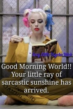 Good morning world Harley Quinn Bitch Quotes, Joker Quotes, Badass Quotes, True Quotes, Great Quotes, Funny Quotes, Inspirational Quotes, Qoutes, Batman Quotes