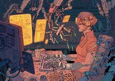 Cyberpunk Illustrations of a Dystopian Future - Creators Arte Cyberpunk, Cyberpunk Aesthetic, Cyberpunk 2077, Arte Sci Fi, Sci Fi Art, Illustrations, Illustration Art, Art Science Fiction, Character Art