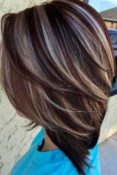 Braune haare blonde strähnen bob