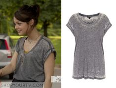 Carter Stevens (Kathryn Prescott) wears this grey burnout v neck top in this episode of Finding Carter. It is the Topshop Burnout V Neck Top. Buy it HERE