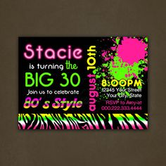 "12 photos of the ""Best Neon Birthday Invitations""Related posts of ""Best Neon Birthday Invitations""How to Create Wwe Birthday Invitations TemplatesYour Read Neon Birthday, Adult Birthday Party, Birthday Ideas, Boho Themed Party, 40th Party Ideas, Surprise Birthday Invitations, Neon Party, Party Party, Party Time"