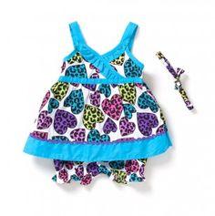 Newborn Printed Hearts Poplin Dress and Headband