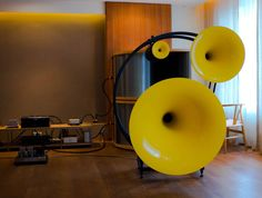 AVANTGARDE ACOUSTICS Trio Classico Horn speakers with 4 Baseborn subwoofer units driven by Tube Power Amplifiers.