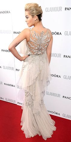 Rita Ora is usually a red carpet wildcard, but the back of this Marchesa gown is everything.