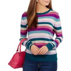 Faded Glory Women's Pullover Collections Sweater, Size: Medium, Multicolor