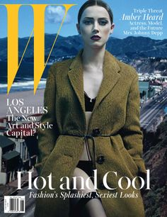 Amber Heard stuns on the sexy cover of W magazine, where she opened up about her recent engagement to Johnny Depp -- see the photo W Magazine, Fashion Magazine Cover, Fashion Cover, Magazine Covers, Amber Heard, Emma Roberts, Johnny Depp, Marie Claire, Edward Enninful