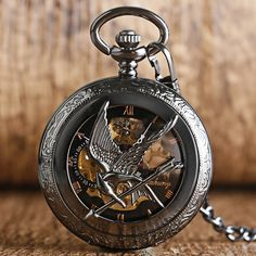 2016 New Arrival The Hunger Games Black Mockingbird Hollow Pocket Watch Mechanical Hand Wind Fob Watch Vintage Pendant Chain