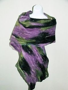 Nuno Felted Shawl, wrap OOAK Wearable Art