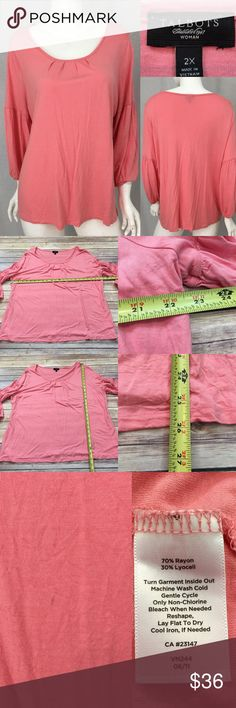 Size 2X Talbots Pink 3/4 Sleeve Pleated Front Top • Measurements are in photos  • Material tag is in photos • Normal wash wear, has a light mark on the front, no other flaws • Round Scoop Neckline • Stretch  • 3/4 Sleeve • Coral Color F2/59  Thank you for shopping my closet! Talbots Tops