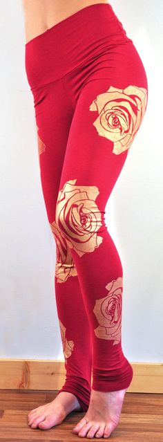 Organic bamboo high waisted red leggings with gold graphic floral rose print // ready to ship