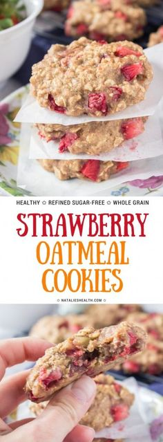 Soft and chewy Strawberry Oatmeal Cookies are one delicious treat filled with fresh strawberries and wonderful flavors. These tasteful cookies are made with all HEALTHY ingredients, very nutritious, refined sugar-free and super easy to make. A tasty breakfast or snack anytime! #cookie #oats #healthy #healthyrecipes #dessert #dessertrecipes #strawberry #strawberries #snacks #sugarfree  NATALIESHEALTH.com
