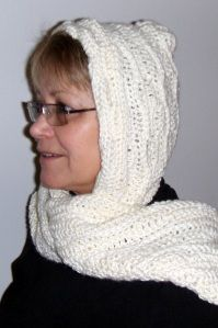 Pretty crocheted hooded scarf. Maybe with this my hat won't blow away in the wind?