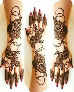 Mehndi henna designs are always searchable by Pakistani women and girls. Women, girls and also kids apply henna on their hands, feet and also on neck to look more gorgeous and traditional. Latest Arabic Mehndi Designs, Rose Mehndi Designs, Latest Bridal Mehndi Designs, Henna Art Designs, Modern Mehndi Designs, Mehndi Designs For Girls, Mehndi Designs For Beginners, Mehndi Design Photos, Wedding Mehndi Designs