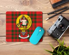 Rubber mousemat with Livingstone clan crest and tartan - only from ScotClans