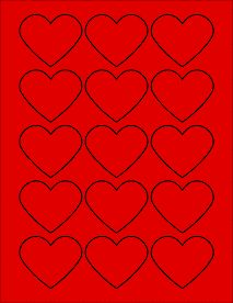 "True Red Heart Labels - Printable Heart Stickers - 2.2754"" x 1.8872"""