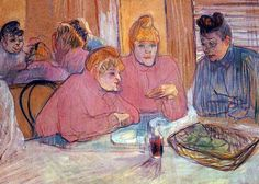 Toulouse-Lautrec - Prostitutes Around a Dinner Table: ca 1893-94